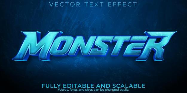 Potworny niebieski efekt tekstowy, edytowalny styl tekstu e-sportowego i gry