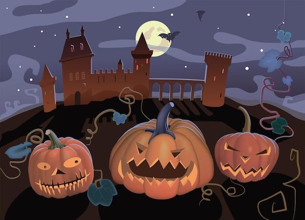 Potwory dyniowe straszą nocą, nietoperze i zamek.