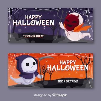 Potwory przebrane za potwory halloween banery