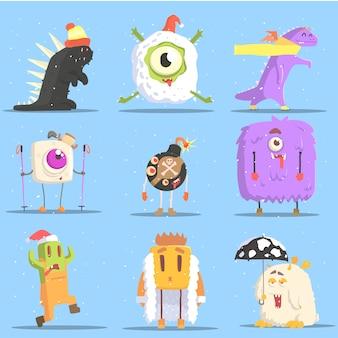 Potwory w zimowych strojach w zabawnych sytuacjach