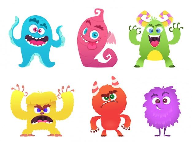 Potwory z kreskówek, goblin gremlin troll straszne słodkie twarze kolorowych potworów zabawnych postaci