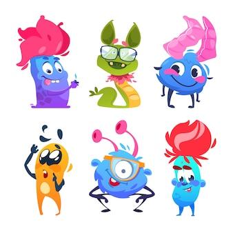 Potwory z kreskówek. zabawne postacie z potworów