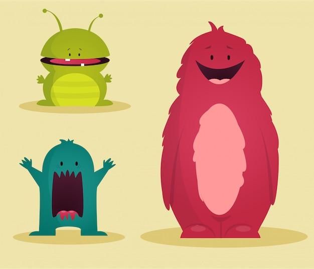Potwory zestaw ilustracji