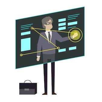 Poważny biznesmen za pomocą ekranu prezentacji