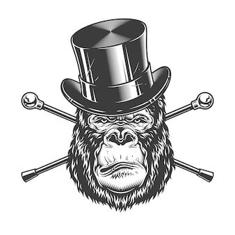 Poważna głowa goryla w cylindrycznym kapeluszu