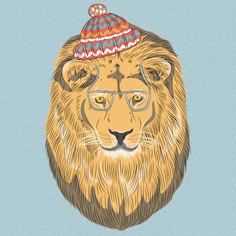 Poważna kreskówka hipster lew