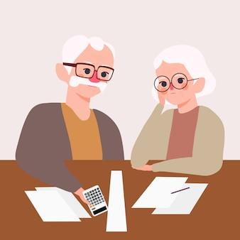 Poważnie zestresowana para osób starszych. dziadek z babcią martwi się ilustracją zarządzania aktywami. problem pieniędzy i koncepcja planu emerytalnego