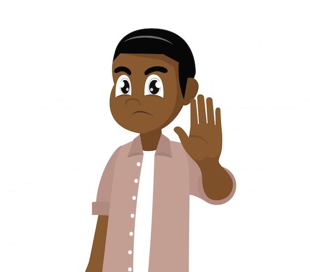 Poważny człowiek afryki pokazuje przystanek gest.