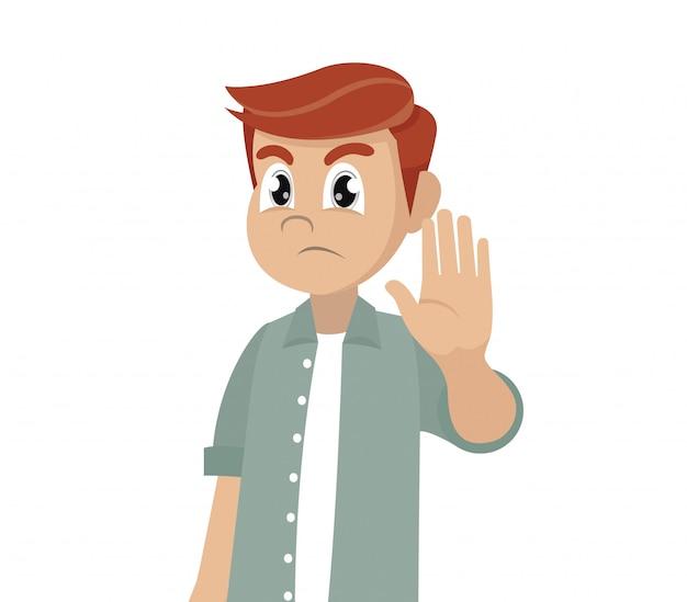 Poważny człowiek pokazuje gest zatrzymania.