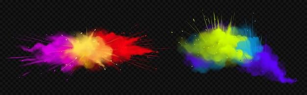 Powder holi maluje kolorowe chmury lub eksplozje, plamy atramentu, dekoracyjny żywy barwnik na festiwal na przezroczystym tle, tradycyjne indyjskie święto. realistyczna ilustracja 3d