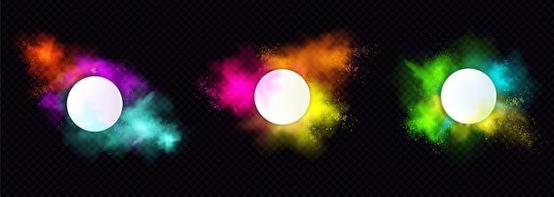Powder holi maluje okrągłe ramki, kolorowe chmury lub eksplozje, plamy atramentu, izolowane ozdobne, żywe granice barwnika