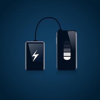 Power bank z urządzeniem przenośnej ładowarki usb koncepcja baterii smart phone