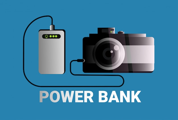 Power banks charging camera portable mobile battery charger concept