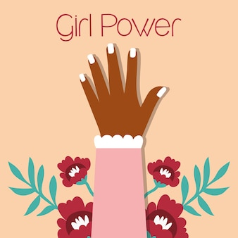 Power girl with afro hand up vector illustration design