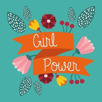 Power girl z napisem w wstążce i kwiaty ogród wektor ilustracja projekt