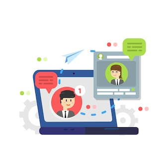 Powiadomienia o nowych wiadomościach czatu, sieci społecznościowe, wiadomości, dymki
