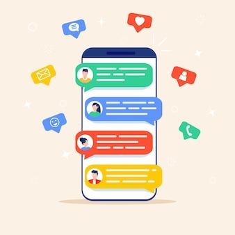 Powiadomienia tekstowe wiadomości czatu online na telefonie komórkowym.