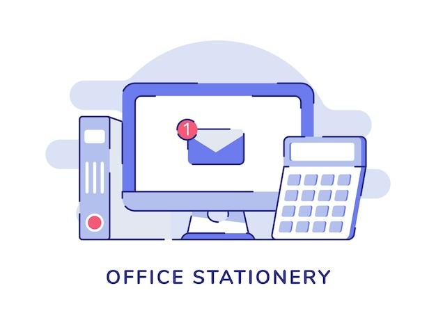 Powiadomienie e-mail o koncepcji papeterii biurowej na ekranie komputera