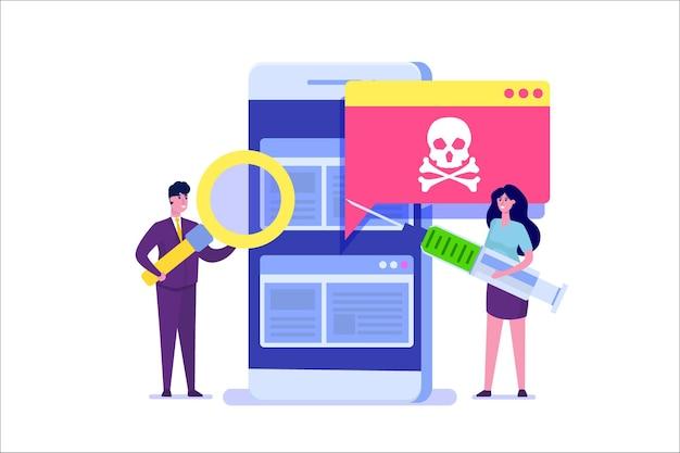 Powiadomienie lub alert o trojanie wirusa na smartfony