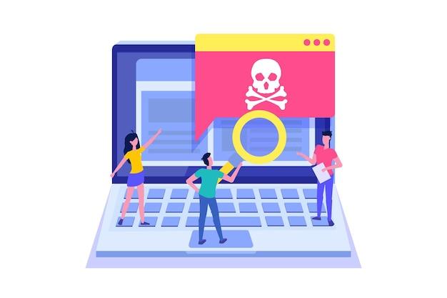 Powiadomienie lub alert o trojanie złośliwym wirusem laptopa