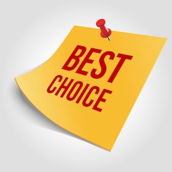 Powiadomienie o najlepszym wyborze z ilustracją szpilki