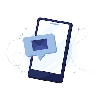 Powiadomienie o nowej wiadomości na ekranie telefonu. niebieski
