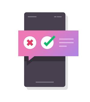 Powiadomienie o quizie cyfrowym głosowania w ankiecie, wybranie dymku odpowiedzi tak, nie, na telefon komórkowy online