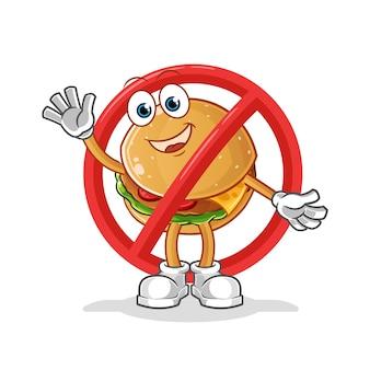 Powiedz nie maskotce burgera. kreskówka