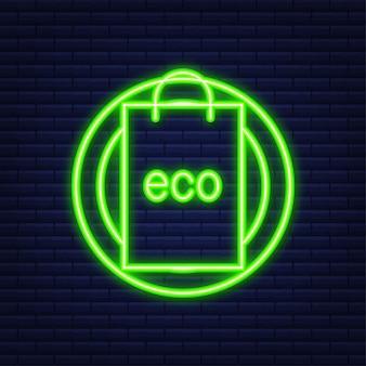 Powiedz nie plakatowi z plastikowymi torbami. kampania mająca na celu ograniczenie użycia plastikowych toreb do umieszczenia. neonowy styl. ilustracja wektorowa.