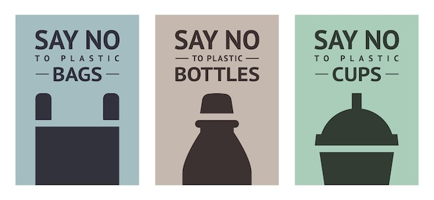 Powiedz nie plastikowi: torby, kubki i butelki, zestaw modnych ekologicznych plakatów