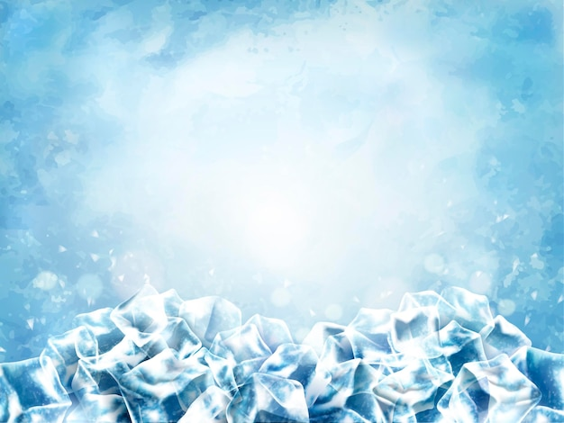 Powierzchnia kostki lodu, abstrakcyjne kostki i śnieg w jasnoniebieskim tle, ilustracja 3d