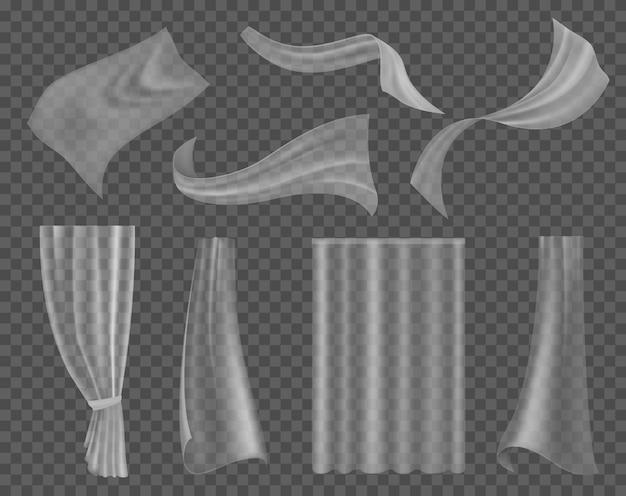 Powiewający przezroczysty materiał. lekka przezroczysta draperia różne formy zasłony tekstylnej, wiszące fale satynowe lub jedwabne zasłony wystrój okna 3d realistyczny wektor izolowany zestaw