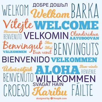 Powitaj tło kompozycji w różnych językach