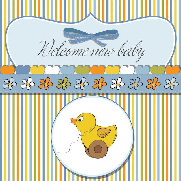 Powitalna karta z zabawką kaczki