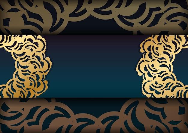 Powitanie broszura z gradientowym zielonym kolorem z indyjskimi złotymi ornamentami dla twoich gratulacji.