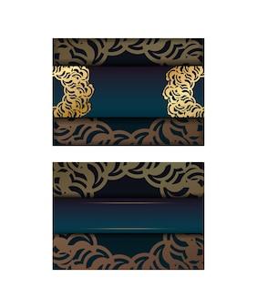Powitanie broszura z gradientowym zielonym kolorem z indyjskimi złotymi ornamentami do swojego projektu.