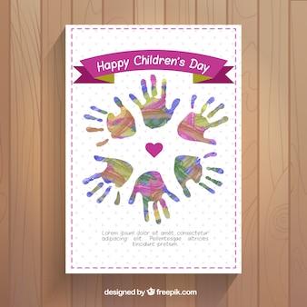 Powitanie dni akwarela rękach dzieci