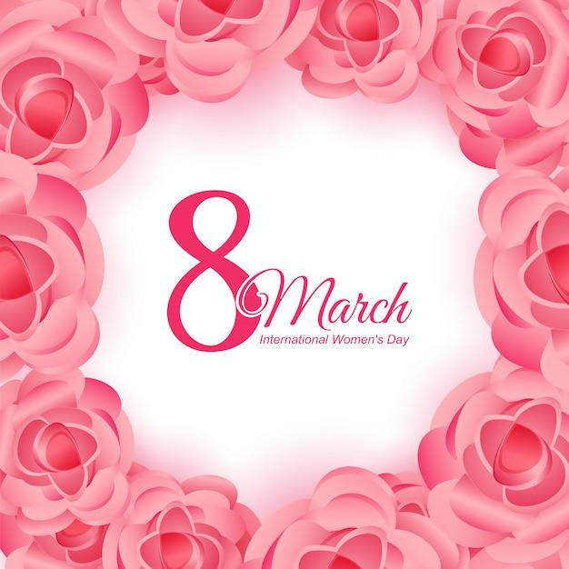 Powitanie dnia kobiet z różowym tle
