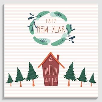 Powitanie karta noworoczna boże narodzenie wieniec z tekstem szczęśliwego nowego roku i czerwony dom z choinkami