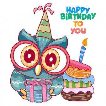 Powitanie karta urodzinowa z cute owl
