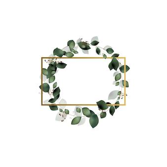 Powitanie, karta z pozdrow, zaproszenie na ślub, szablon. elegancka złota ramka z liśćmi eukaliptusa.