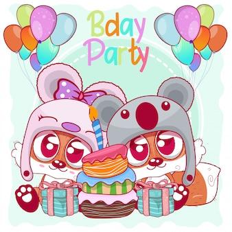 Powitanie kartka urodzinowa z cute lisów