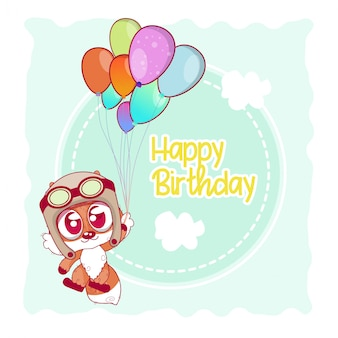Powitanie kartka urodzinowa z uroczym lisem