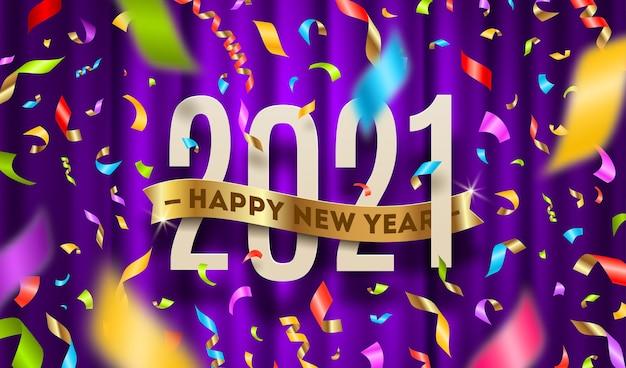 Powitanie noworoczne i wielobarwne konfetti na tle fioletowej kurtyny.