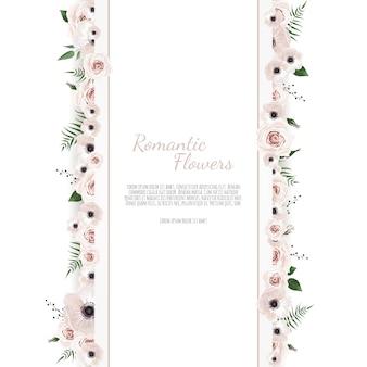 Powitanie, pocztówka ślub zaprasza szablon. elegancka rama z różą i anemonem
