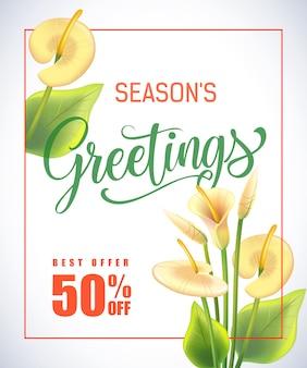 Powitanie pór roku napis w ramce z lilii aron na białym tle.