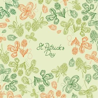 Powitanie św. dekoracyjna karta patryka z życzeniami i wieloma ikonami, takimi jak koniczyna, gałązka, ilustracja liści