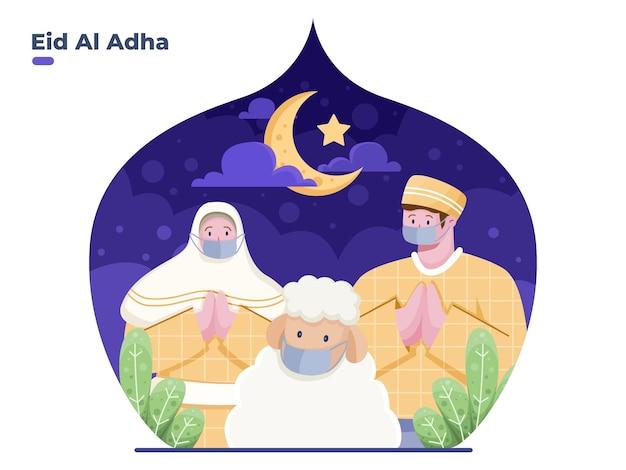 Powitanie szczęśliwej płaskiej ilustracji eid al adha z osobą noszącą maskę na twarz, aby zapobiec wirusowi covid19