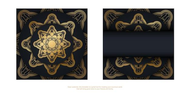 Powitanie ulotka w kolorze czarnym z luksusowym złotym wzorem do swojego projektu.