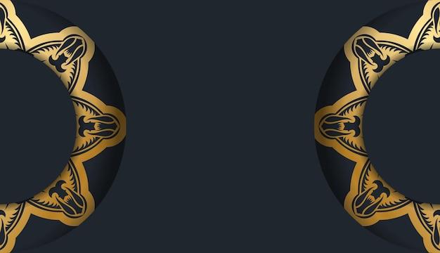 Powitanie ulotka w kolorze czarnym z rocznika złote ozdoby dla swojego projektu.